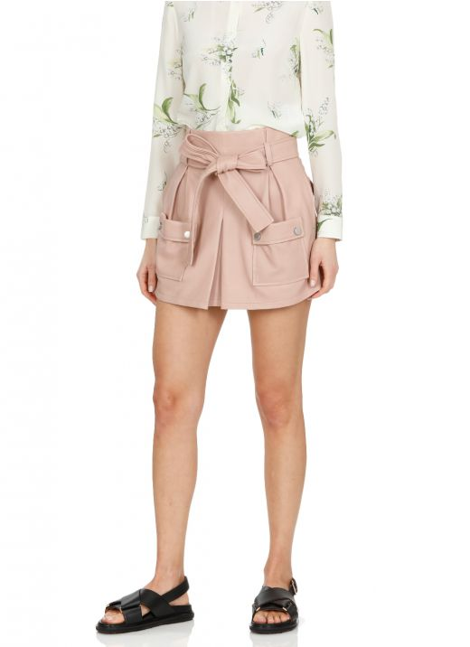 Leather short with belt