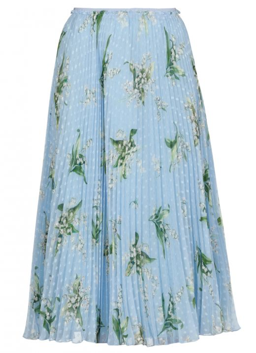 Pleated full skirt with May Lily print