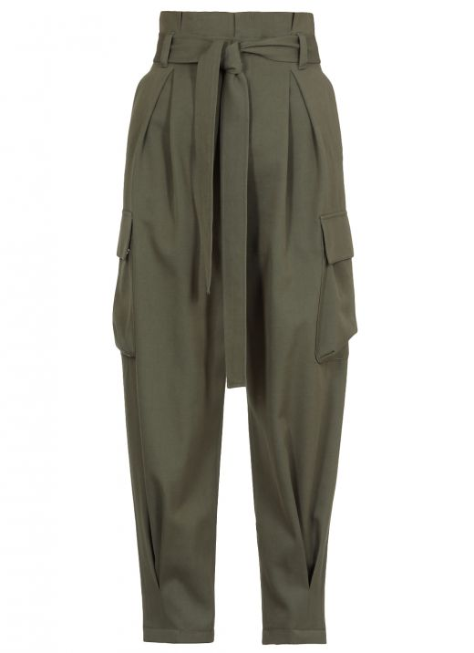 Cotton and virgin wool twill cargo trouser