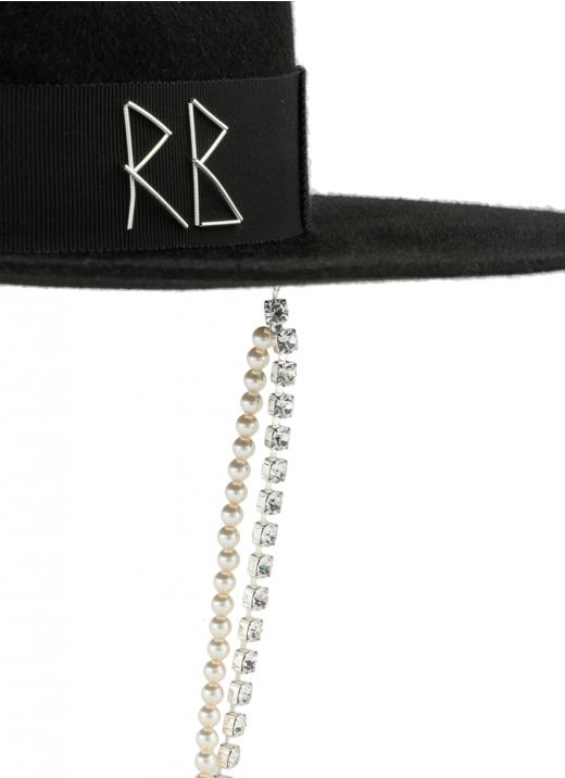 Fedora hat in lana con cristalli e perle