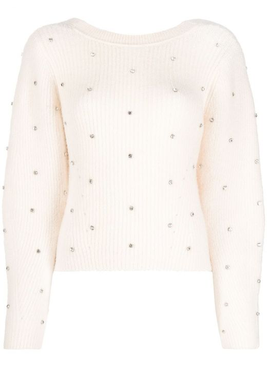 Sweater with applied crystals