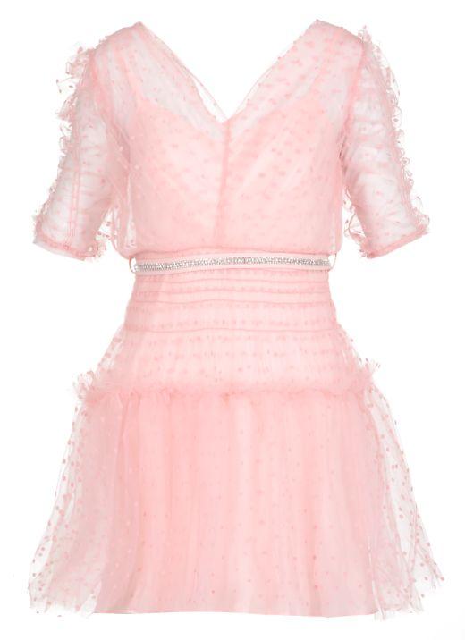 Dot Mesh Mini Dress