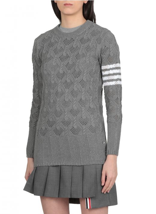 Cotton Fan cable knitted sweater