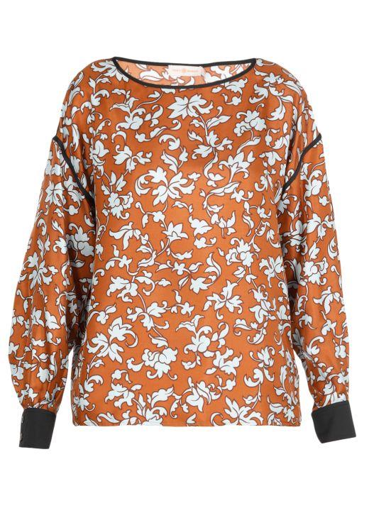 Blusa in seta con stampa floreale